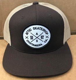 ATTIC ATTIC Trucker Mesh Snapback Hat - Brown/Khaki