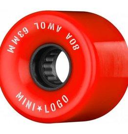 Mini Logo Mini Logo AWOL Wheels 63mm 80A- Red (set of 4)