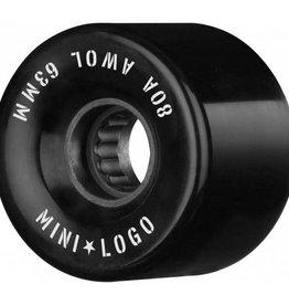 Mini Logo Mini Logo AWOL Wheels 63mm 80A- Black (set of 4)