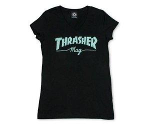 3968c65679b5 Thrasher Thrasher Logo Girl s V Neck T-Shirt - Black - Attic Skate   Snow  Shop