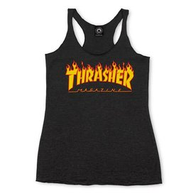 Thrasher Thrasher Flame Logo Racerback Girls Tank - Black
