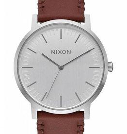 Nixon Nixon Porter Leather Watch - Silver/Brown