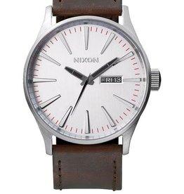 Nixon Nixon Sentry Leather Watch - Silver/Brown