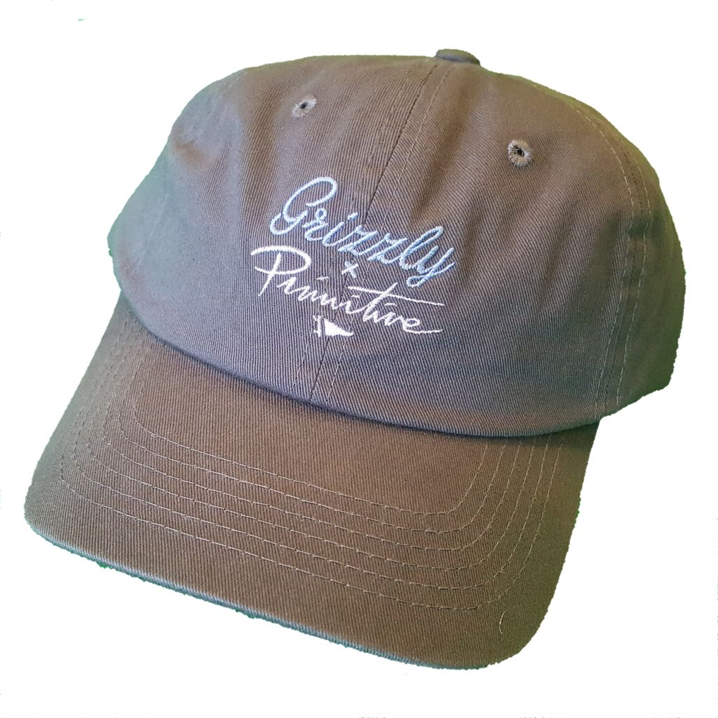 336bf9cb515 Primitive Apparel Primitive x Grizzly Logo Script Dad Hat - Dark Gray