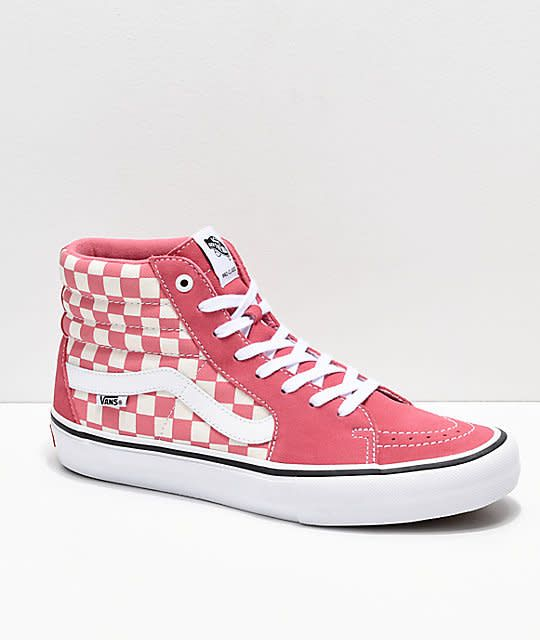 1f70242a276248 Vans Vans Sk8-Hi Pro Skate Shoes - Chkbrd Desert Rose - Attic Skate ...