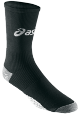 ASICS This sock's integrated mesh fabric adds cushioning in the heel & forefoot, & provides muscle support to the lower leg, thus optimizing performance.