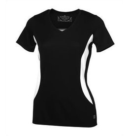 Authentic T-Shirt Company A Game Color Block Ladies V-Neck Tee