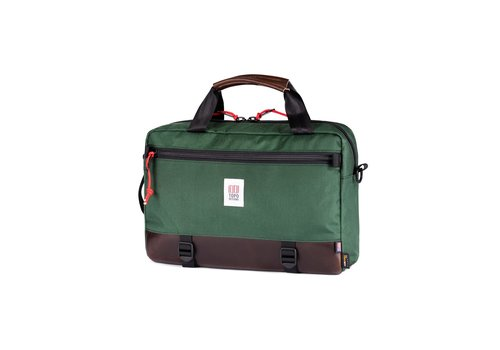 Topo Designs Commuter Briefcase  - Forest/Brown Leather