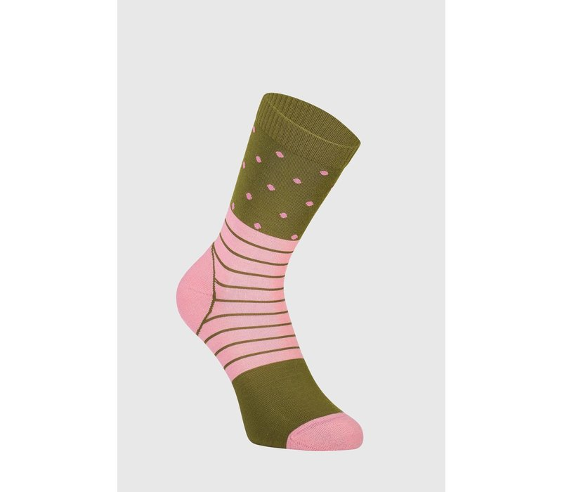 W's All Rounder Crew Sock - Khaki/Rose