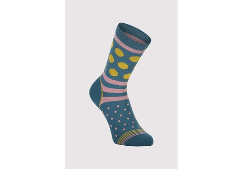 MonsRoyale W's All Rounder Crew Sock - Deep Teal/Pink Clay/Honey
