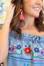 Karlie Embroidered Off Shoulder Dress