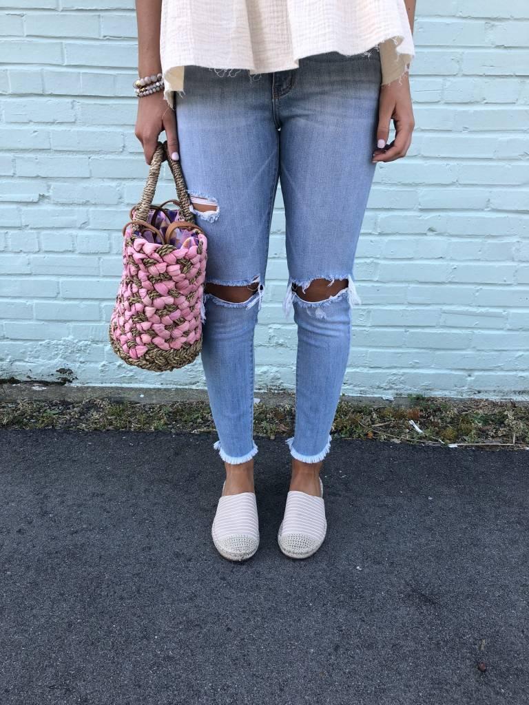 Karlie Distressed Knee Cropped Jean