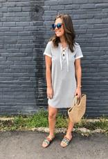 Fifteen Twenty Short Sleeve Lace Up Tee Dress