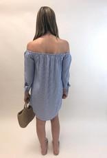 Cupcakes and Cashmere Ciara Stripe Off Shoulder Dress