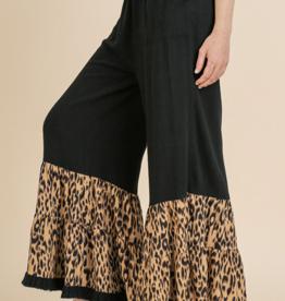 Black Pant with Animal Print Hem