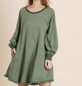Puff Sleeve Sage Dress