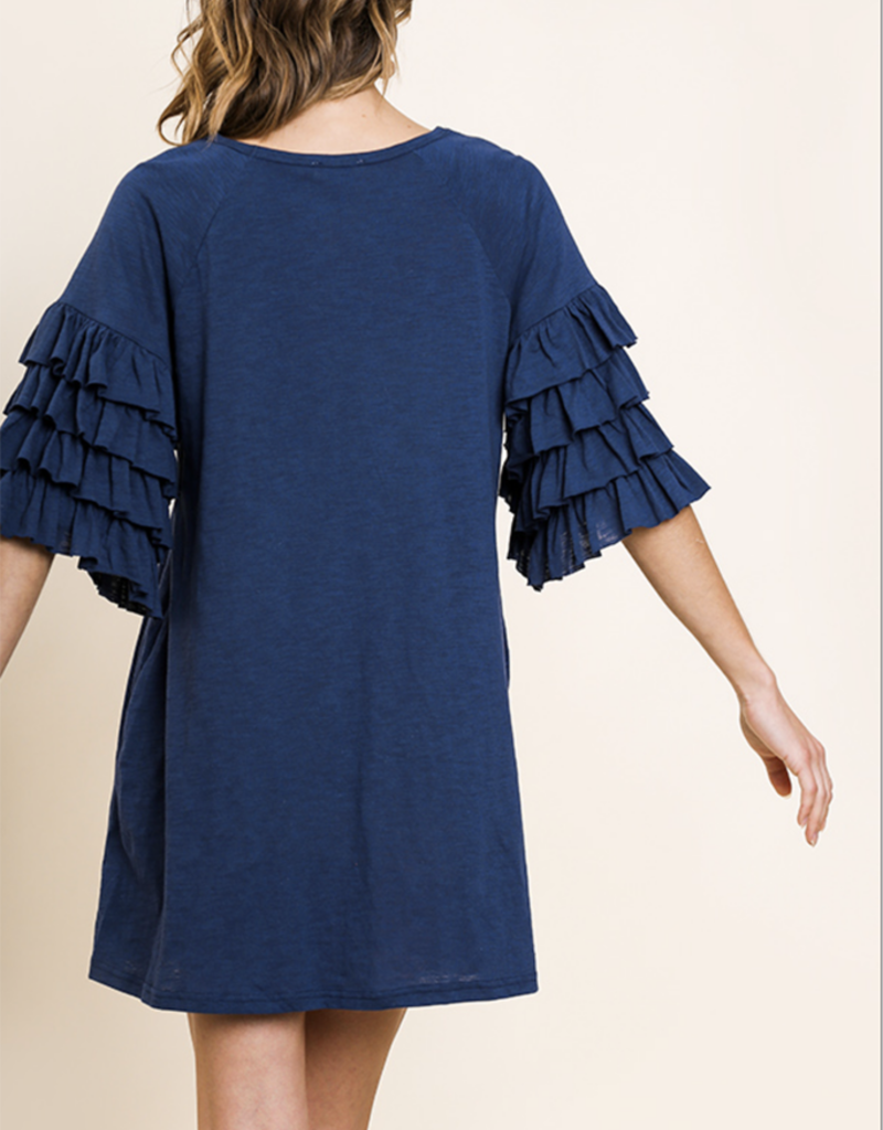Ruffle Sleeve Navy Dress