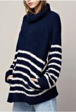 Fuzzy Cowl Neck Stripe Tunic - Navy/Taupe