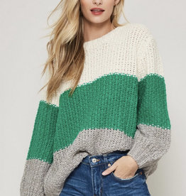 Colorblock Sweater -Ivory/Green/Grey
