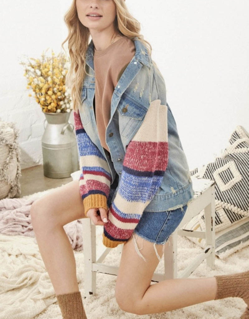 Denim Jacket with Multi Colored Sweater Sleeves