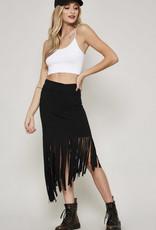 Fringe Midi Skirt - Black