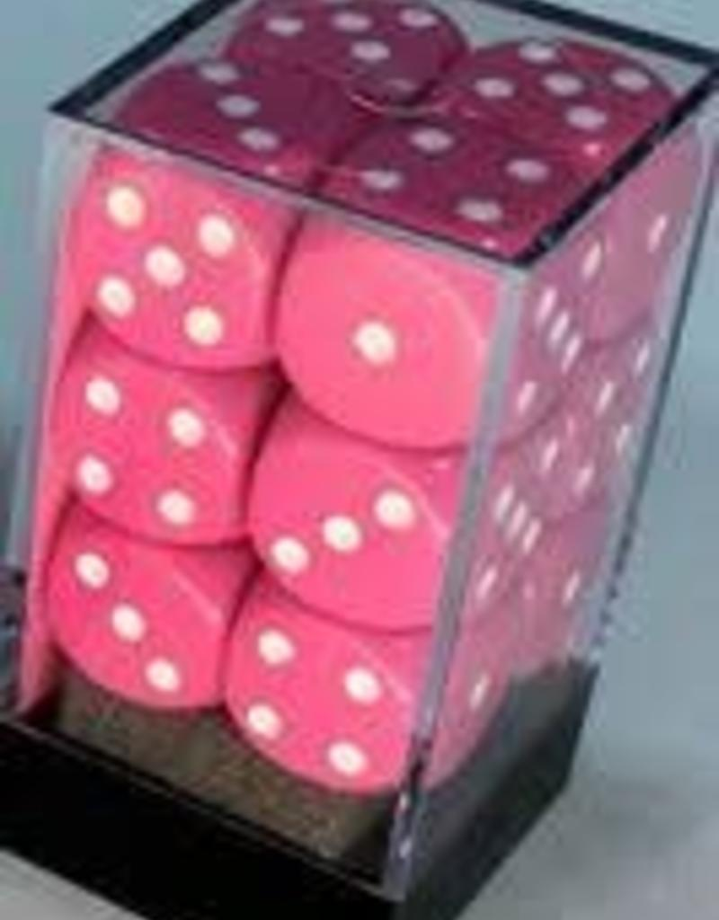 CHESSEX CHX 25644 16MM D6 DICE BLOCK OPAQUE PINK/WHITE