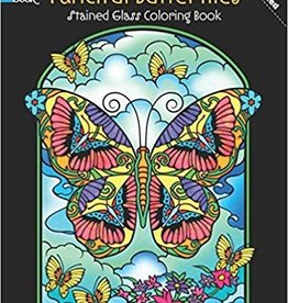DOVER PUBLICATIONS FANCIFUL BUTTERFLIES STAINED GLASS COLORING BOOK