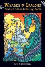 DOVER PUBLICATIONS WIZARDS & DRAGONS STAINED GLASS COLORING BOOK