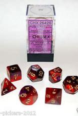 CHESSEX CHX 26426 7 PC POLY DIE SET GEMINI PURPLE RED GOLD