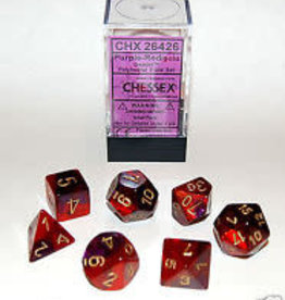 CHESSEX CHX 26426 7 PC POLY DIE SET GEMINI PURPLE RED GOLD