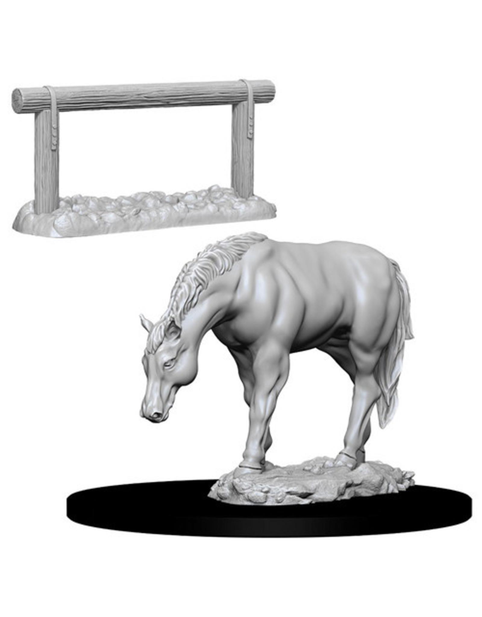 WIZKIDS DEEP CUTS UNPAINTED MINIS HORSE & HITCH