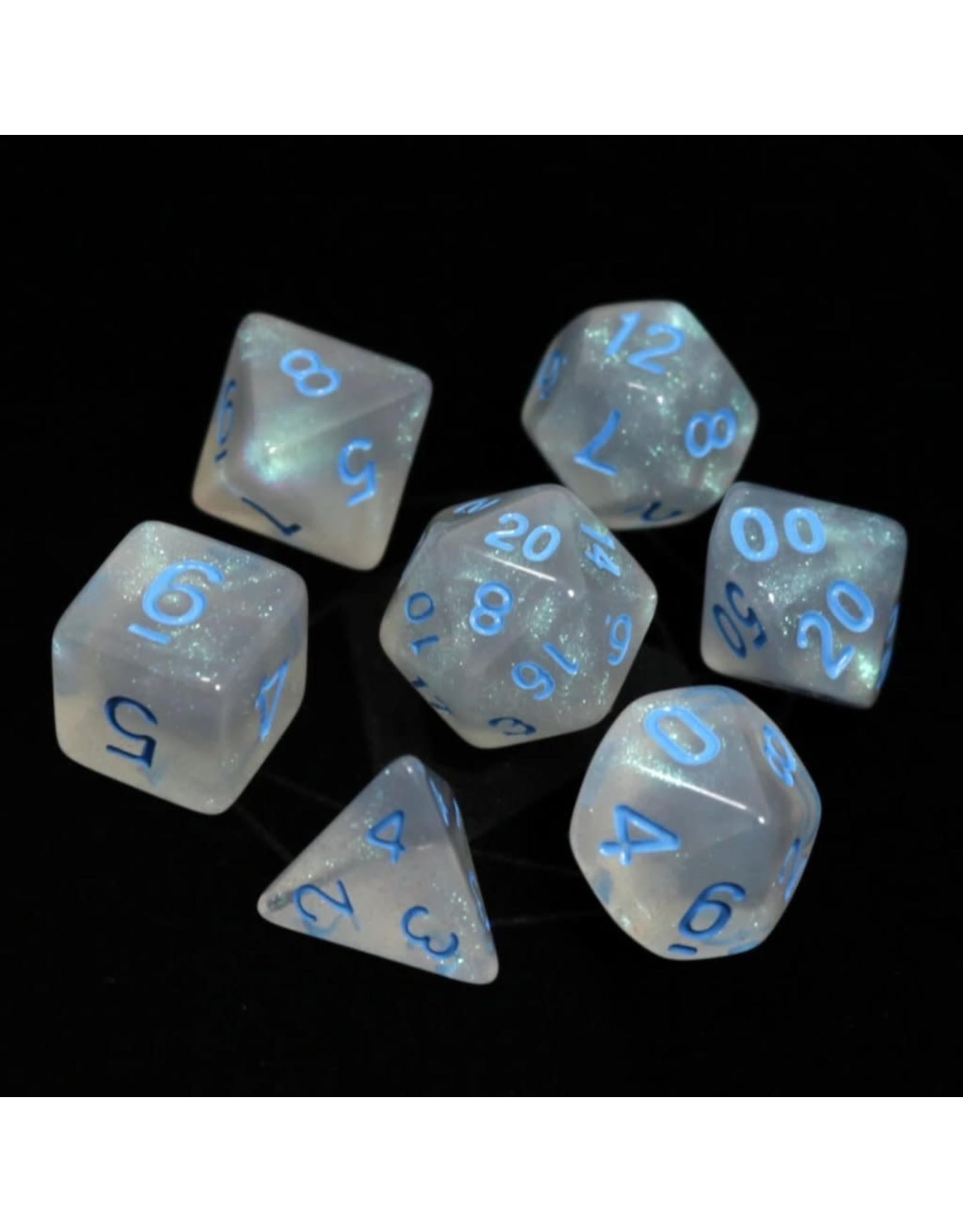 DIE HARD DICE DIE HARD DICE 7 CT DICE SET GLACIAL MOONSTONE W/ BLUE