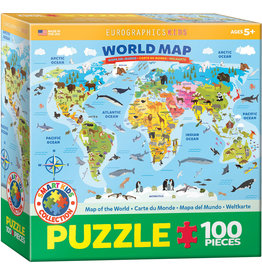 KIDS MAP OF THE WORLD 100 PIECE PUZZLE