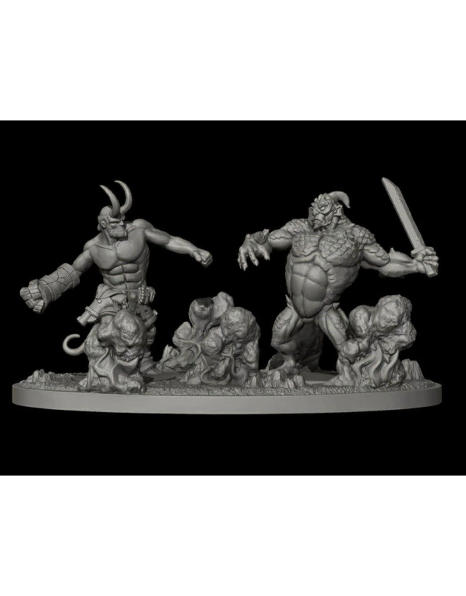 HELLBOY RESIN HORNED HELLBOY VS UALAC DIORAMA