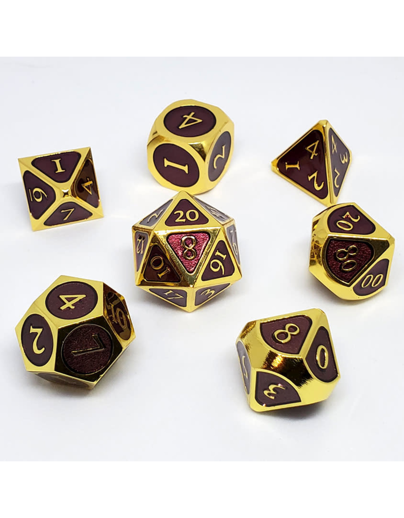 16MM MDG METAL POLY DICE SET GOLD WITH PURPLE ENAMEL