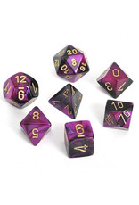 CHESSEX CHX 26440 7 PC POLY DICE SET BLACK PURPLE GEMINI