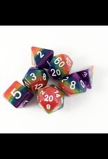 METALLIC DICE POLY OPAQUE 7 DICE SET GAMES RAINBOW