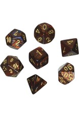CHESSEX CHX 27419 7 PC POLY DICE SET SCARAB BLUE BLOOD W/ GOLD
