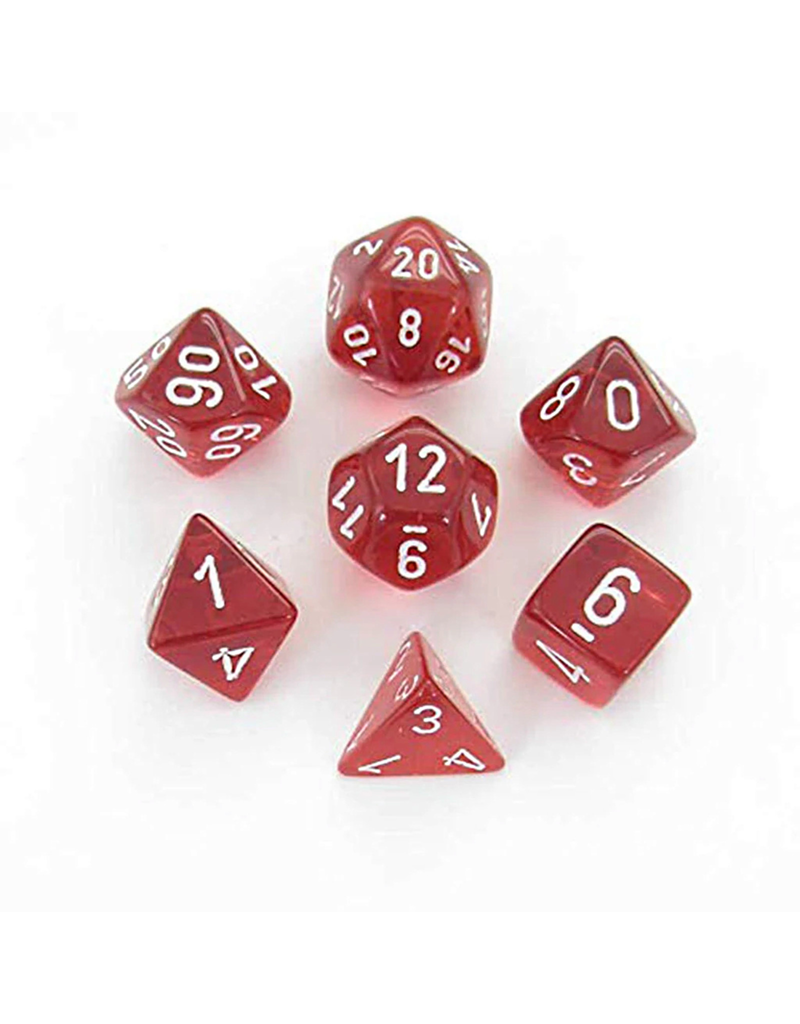 CHESSEX CHX 23074 7CT POLYHEDRAL DICE TRANSLUCENT RED/WHITE