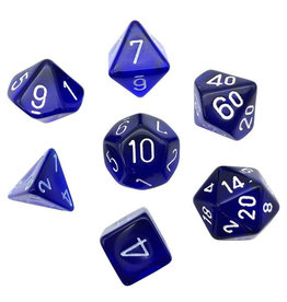 CHESSEX CHX 23076 7CT POLYHEDRAL DICE TRANSLUCENT BLUE/WHITE