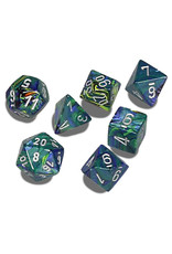 CHESSEX CHX 27445 7 PC POLY DICE FESTIVE GREEN W/ SILVER