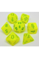 CHESSEX CHX 27422 7 PC POLY DICE SET VORTEX ELECTRIC YELLOW W/GREEN