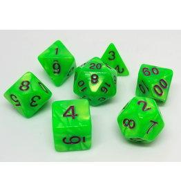 DIE HARD DICE DIE HARD DICE 7 CT RPG DICE SET GREEN TRICKSTER
