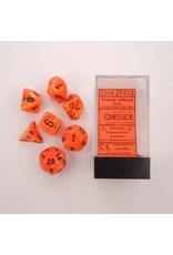 CHESSEX CHX 27433 POLY 7 DICE SET VORTEX ORANGE W/BLACK