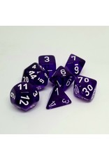 CHESSEX CHX 23077 7CT POLYHEDRAL DICE TRANSLUCENT PURPLE/WHITE
