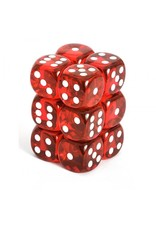 CHESSEX CHX 23604 16MM D6 DICE BLOCK RED W/ WHITE TRANSLUCENT