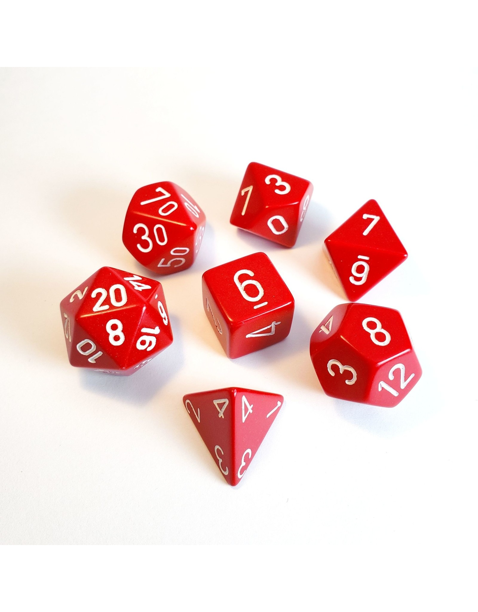 CHESSEX CHX 25404 7 PC POLY DICE SET OPAQUE RED W/ WHITE
