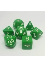 CHESSEX CHX 25405 7 PC POLY DICE SET OPAQUE GREEN W/ WHITE