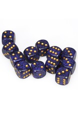 CHESSEX CHX 25737 16MM D6 DICE BLOCK SPECKLED GOLDEN COBALT