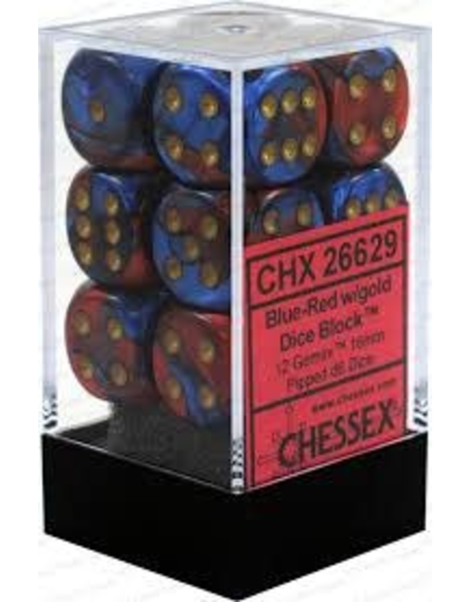 CHESSEX CHX 26629 16MM D6 DICE BLOCK GEMINI BLUE RED W/GOLD